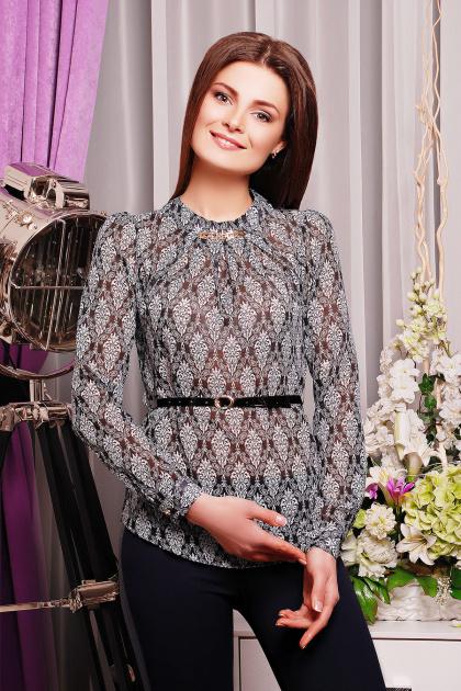 . блуза Энни д/р. Цвет: черный-белый узор