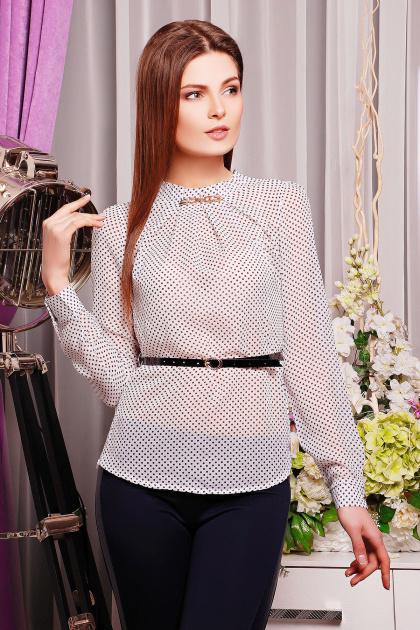 Черная шифоновая блуза в белый горох. блуза Энни д/р. Цвет: белый-горох