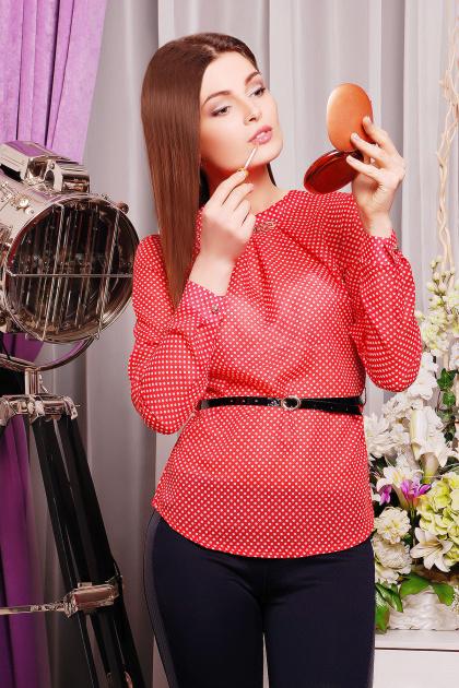 Черная шифоновая блуза в белый горох. блуза Энни д/р. Цвет: коралл-горох