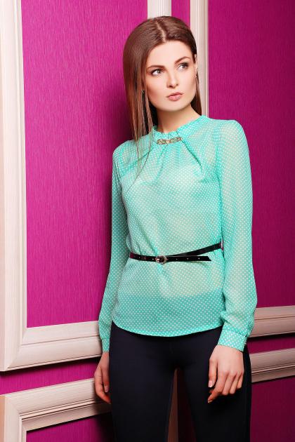 Шифоновая зеленая блуза в горох с длинным рукавом. блуза Энни д/р. Цвет: зеленый-горох