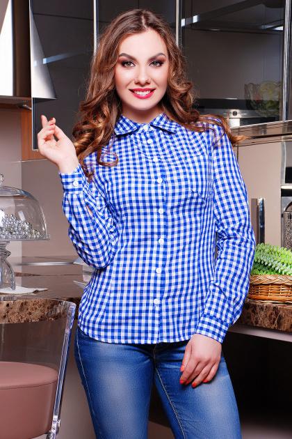 Модная женская блузка цвета электрик в клетку. блуза Шериф д/р. Цвет: электрик-клетка