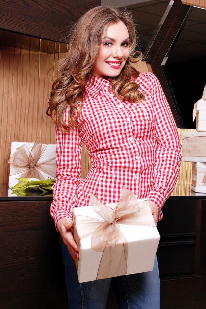 Модная женская блузка цвета электрик в клетку. блуза Шериф д/р. Цвет: красный-клетка