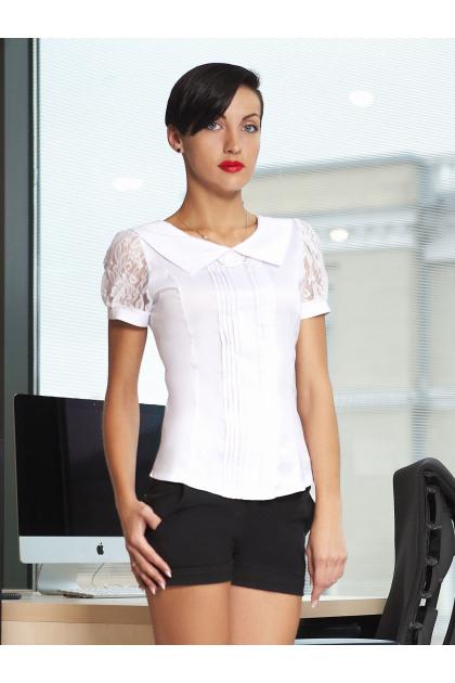 Белые офисные блузки купить больших размеров