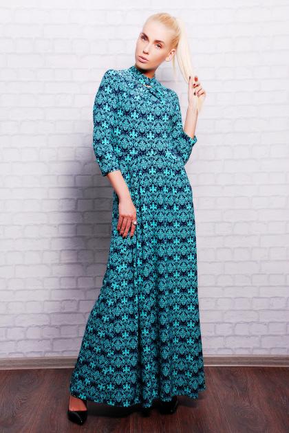 . платье Шарлота2 д/р. Цвет: мята-т.синий узор