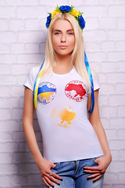 женская футболка с украинской символикой. Made in Ukraine Футболка-2В. Цвет: принт