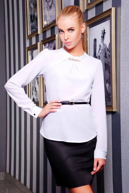 Белая женская блузка из креп-шифона. блуза Энни2 д/р. Цвет: белый