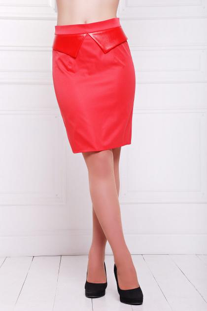 Темно-синяя юбка с баской. юбка мод. №12. Цвет: красный