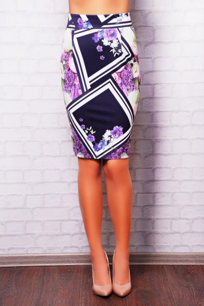 . Сиреневый ромб юбка мод. №14 Оригами. Цвет: принт