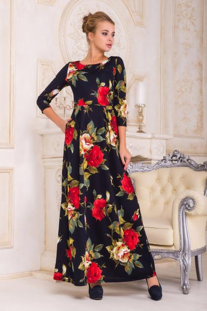 . платье Шарли2 д/р. Цвет: т.синий-роза крупная