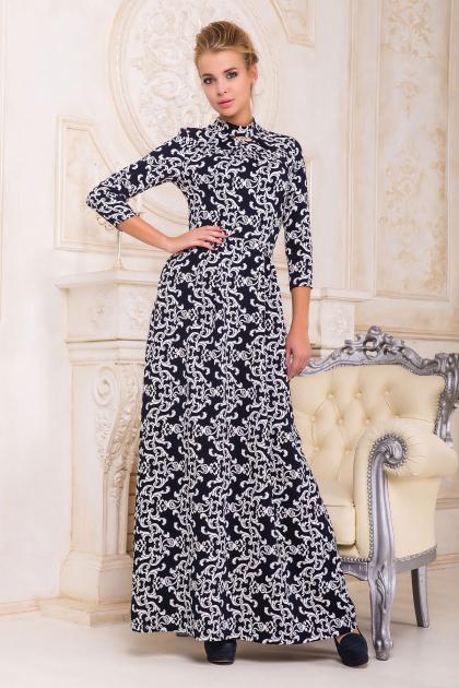 . платье Шарлота д/р. Цвет: т.синий-белый узор