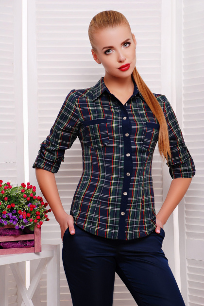 женская блузка в клетку. блуза Шотландка2 д/р. Цвет: зеленый-т.синий клетка