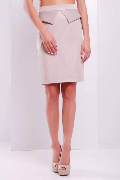 Темно-синяя юбка с баской. юбка мод. №12. Цвет: бежевый