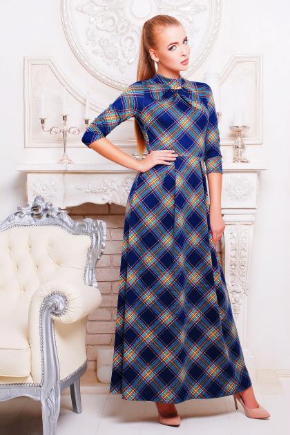 . платье Шарлота3 д/р. Цвет: синий-зеленый клетка