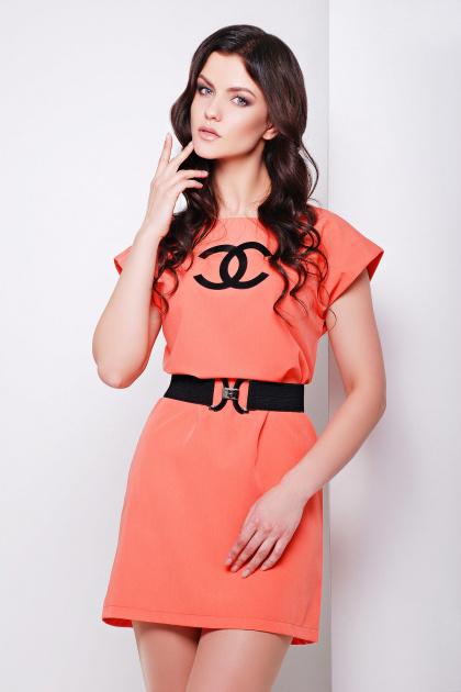 синее короткое платье прямого кроя. платье Шани б/р. Цвет: св. персиковый