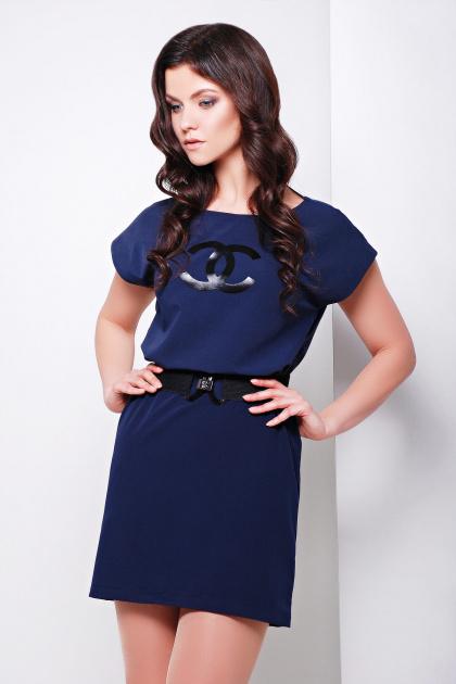синее короткое платье прямого кроя. платье Шани б/р. Цвет: св. синий