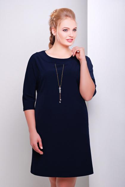 свободное темно-синее платье миди для полных. платье Элика-Б д/р. Цвет: серо синий