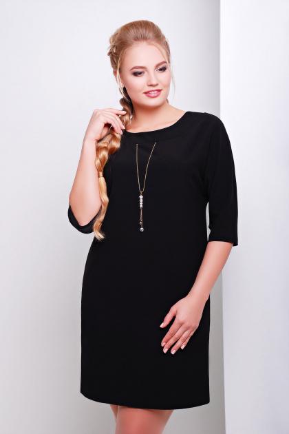 свободное темно-синее платье миди для полных. платье Элика-Б д/р. Цвет: черный