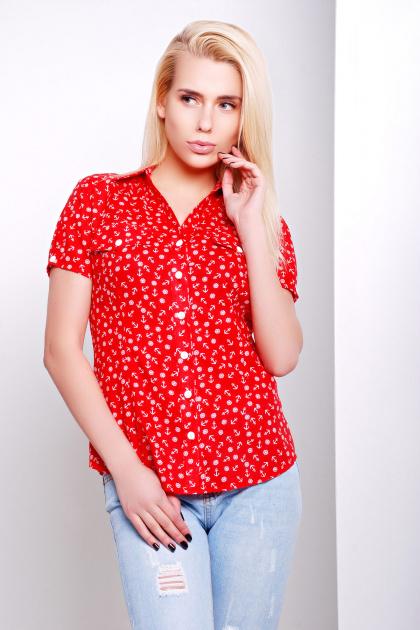 темно-синяя блуза из шифона с морским принтом и коротким рукавом. блуза Якира к/р. Цвет: красный-якорь