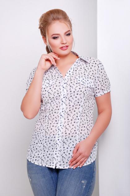 ситцевая голубая блуза для полных с морским принтом. блуза Якира-Б к/р. Цвет: белый-якорь