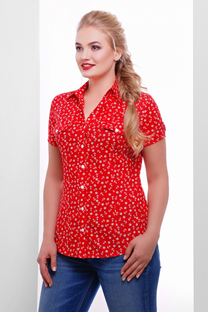 ситцевая красная блуза для полных. блуза Якира-Б к/р. Цвет: красный-якорь