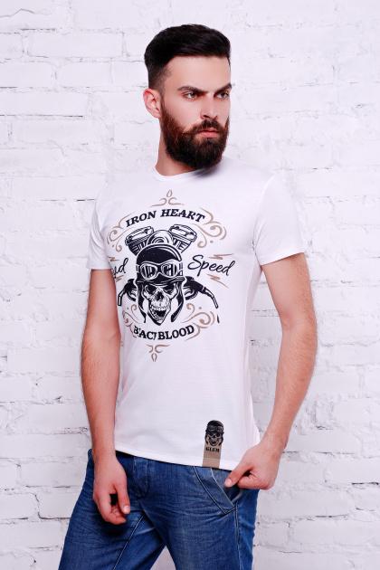 мужская байкерская футболка. Iron Heart Футболка Men-2В. Цвет: принт