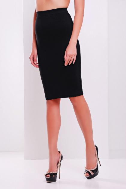белая трикотажная миди юбка-карандаш. юбка мод. №20. Цвет: черный