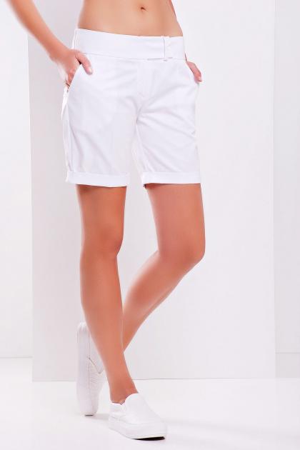 длинные классические женские шорты из трикотажной ткани. шорты Хилтон2 (длинные). Цвет: белый