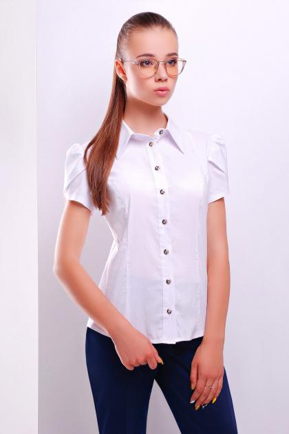 женская белая рубашка из хлопка с коротким рукавом. блуза Юдита к/р. Цвет: белый