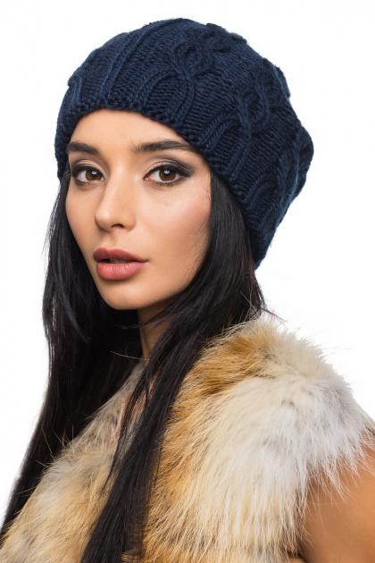 Осенне-зимняя вязаная шапка темно-синего цвета. Шапка 1064. Цвет: темно-синий