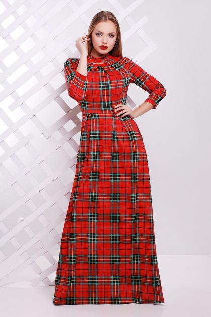 . платье Шарлота д/р. Цвет: красный-зеленая клетка