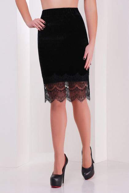 Юбка черного цвета из велюра с кружевом. юбка мод. №21. Цвет: черный