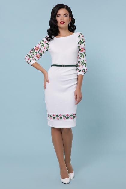 Черное платье с принтом, имитирующим вышивку. Цветы-орнамент платье Андора д/р. Цвет: белый