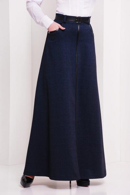 Длинная юбка черного цвета. юбка мод. №24. Цвет: т.синий меланж