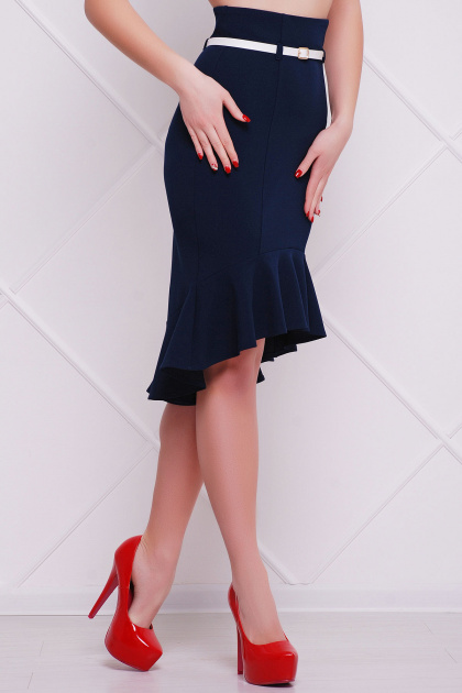 черная юбка с поясом и воланом. юбка мод. №26. Цвет: темно синий