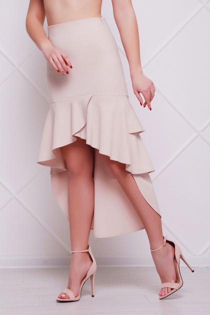 черная юбка с воланами. юбка мод. №25 (длинная). Цвет: светло бежевый