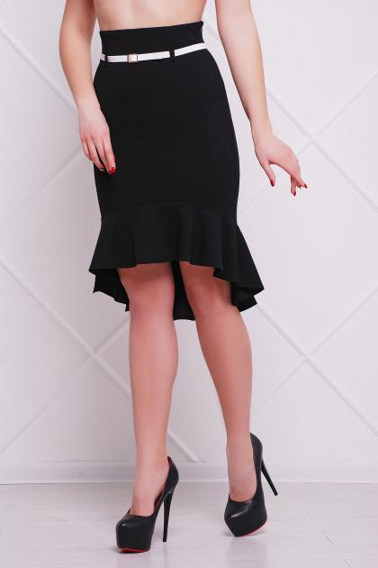 черная юбка с поясом и воланом. юбка мод. №26. Цвет: черный