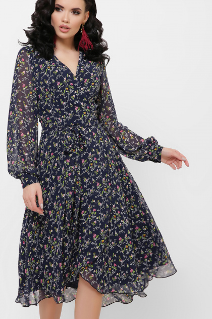 . Платье Алеста д/р. Цвет: синий-цветы розов.