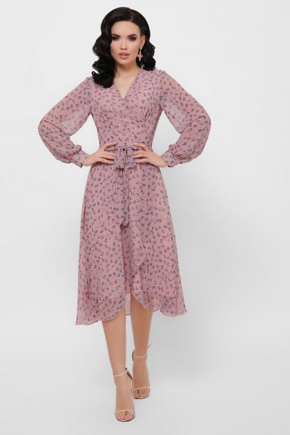 . Платье Алеста д/р. Цвет: лиловый-цветы синие