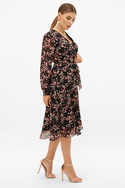 . Платье Алеста д/р. Цвет: черный-лепестки