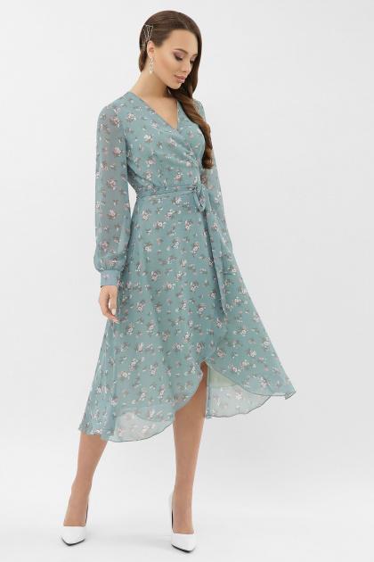 . Платье Алеста д/р. Цвет: бирюза-белый цветок