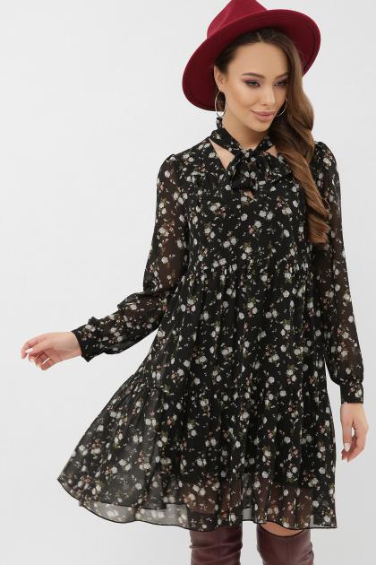 . Платье Мара д/р. Цвет: черный-голубой цветок