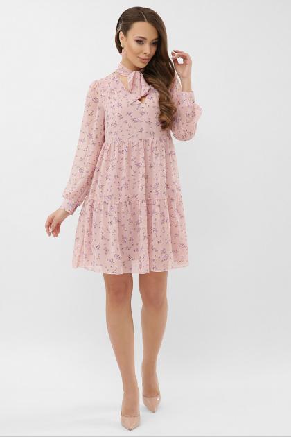 . Платье Мара д/р. Цвет: пудра-сиреневый цветок