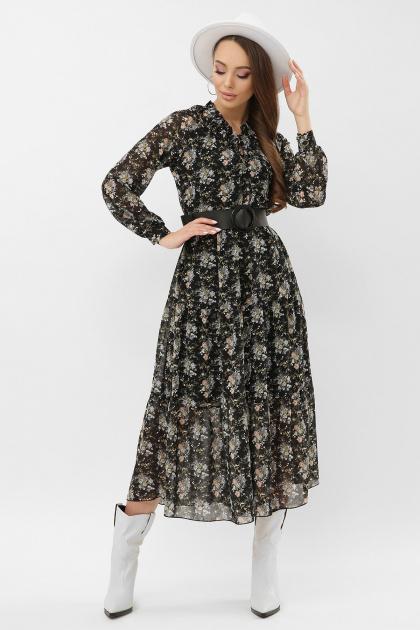 . Платье Мариэтта д/р. Цвет: черный-букет