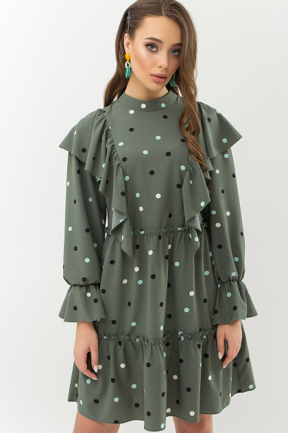 . Платье Лесса д/р. Цвет: хаки-горох цветной