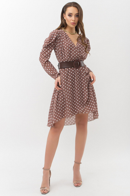 . Платье Лайса д/р. Цвет: капучино-белый горох