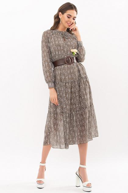 . Платье Мариэтта д/р. Цвет: хаки-ландыши
