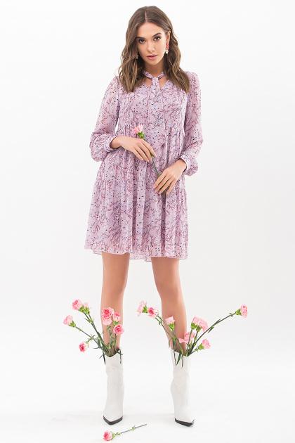 . Платье Мара д/р. Цвет: сиреневый-голуб.м.цветок