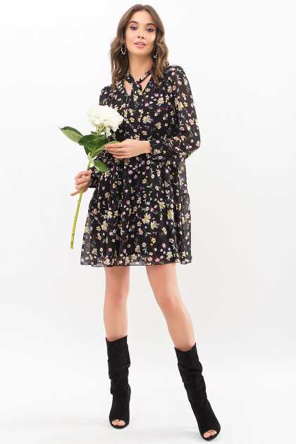 . Платье Мара д/р. Цвет: черный-желтый цветок