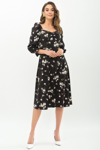 . Платье Пала д/р. Цвет: черный-белый букет