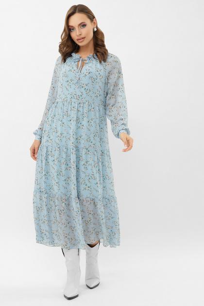 . Платье Мариэтта д/р. Цвет: голубой-белый м.цветы